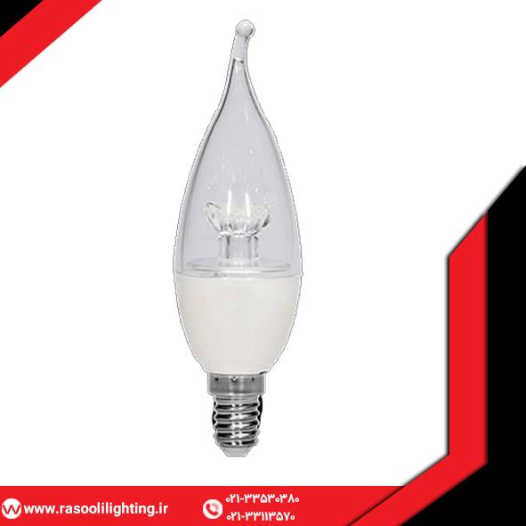 لامپ ۷ وات شمعی شفاف طرح گل